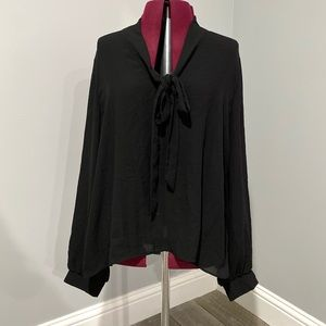 Semi Sheer Front Tie Blouse
